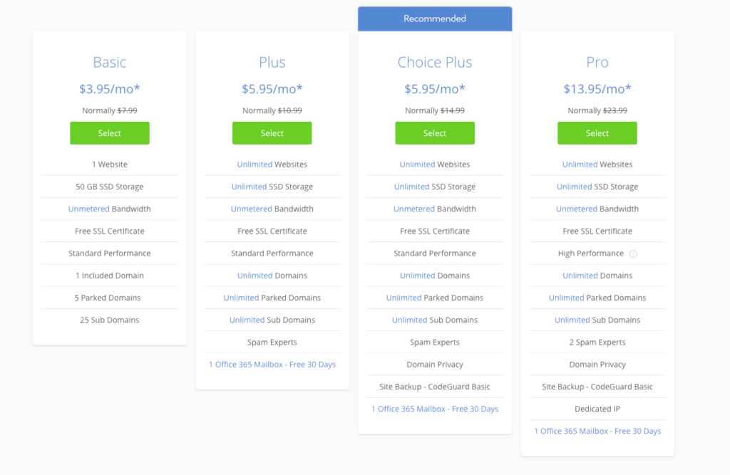Select a Plan for Bluehost