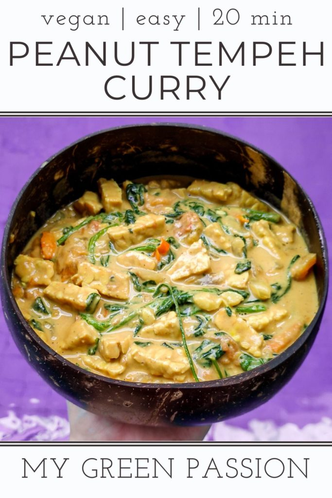 vegan peanut butter tempeh curry spinach easy quick 20 minute recipe