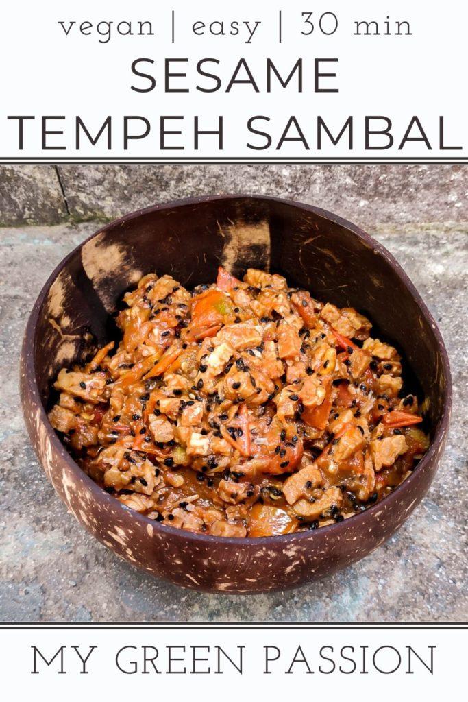 sesame tempeh sambal vegan easy quick 30 minute recipe spicy indonesian