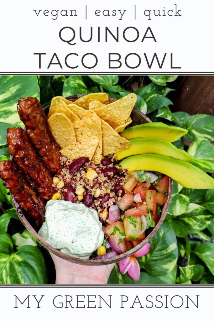 vegan quinoa taco bowl vegan sour cream tempeh salsa