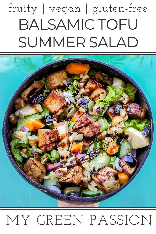 vegan fruity balsamic tofu summer salad gluten-free refreshing apple mango plant-based